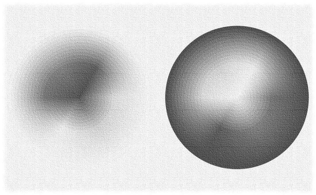 Discos en gris de una misma esfera con los colores ordenados.