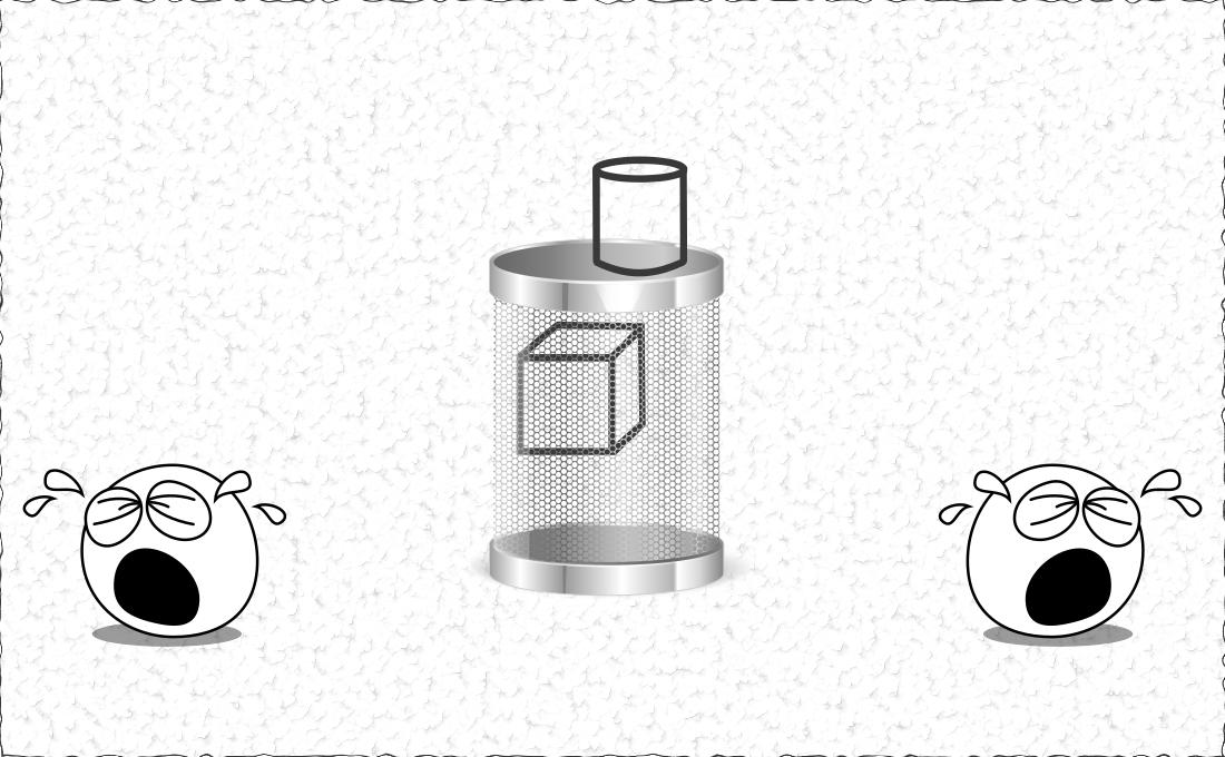 Un cubo y un cilindro a la papelera hacen llorar.