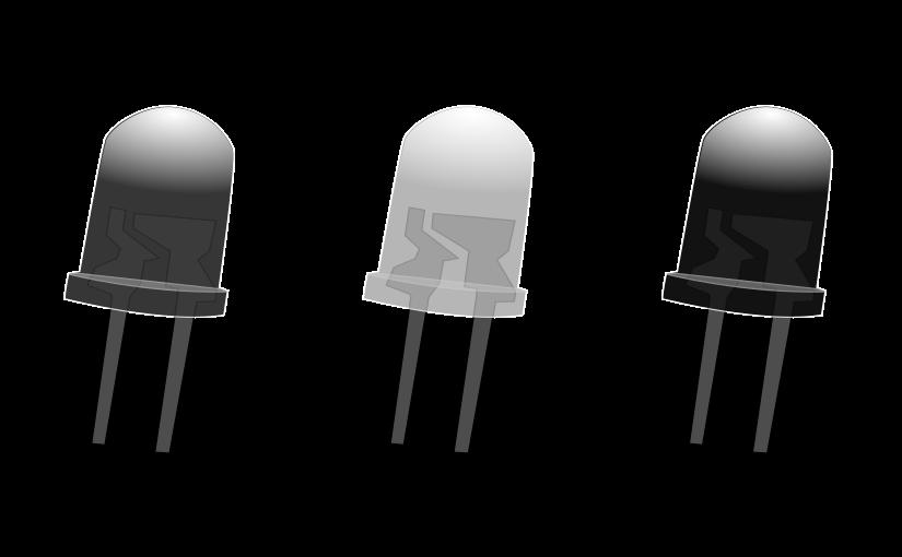 Tres leds de colores en gama de grises.