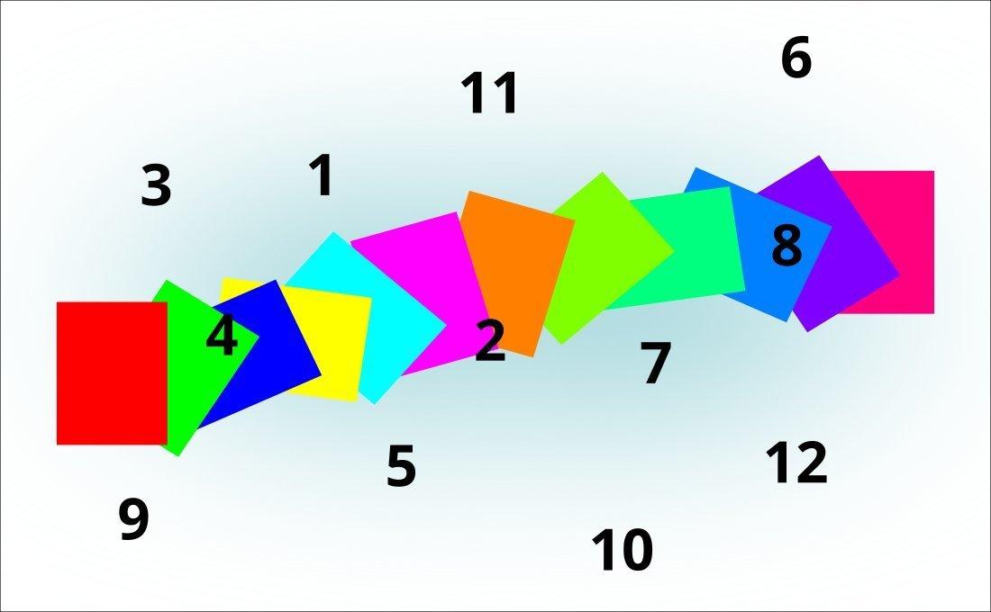 Tres colores primarios, tres secundarios y algunos terciarios.