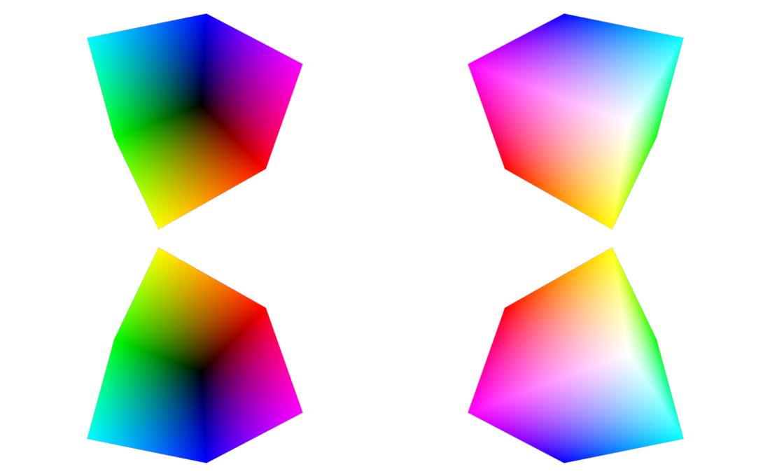 Dos parejas de cubos RGB.