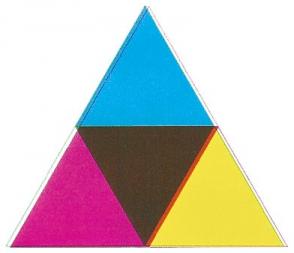 Imagen resultante de sobreimprimir los tres colores primarios de la impresora.