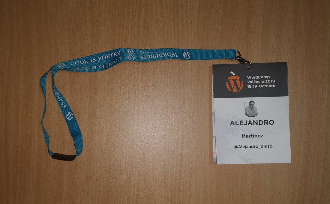 Credencial WordCamp Valencia 2019