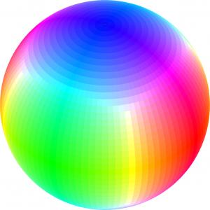 Esfera de colores resultado de repetir la aproximación geométrica.