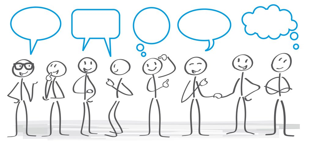 Dibujo simpático sobre gente conversando.