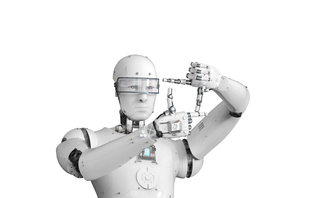 Robot usando sus propios dedos para medir un área.