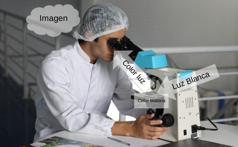 Científico mirando un microscopio.