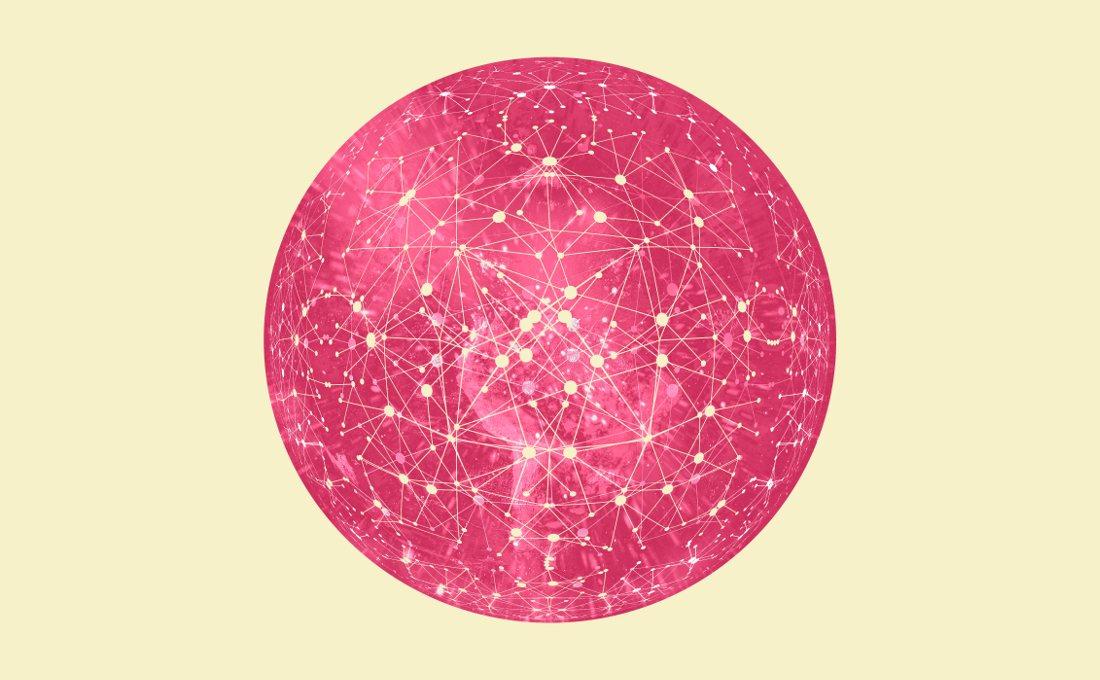Mundo con muchos nodos conectados.