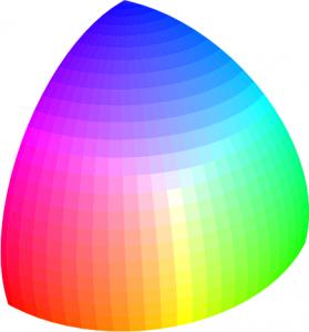 Octavo de esfera con el subconjunto de los colore-luz.